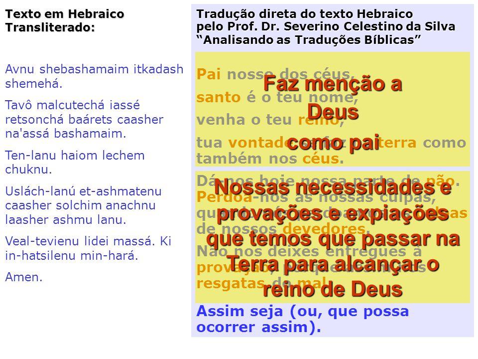 Desta oração em Aramaico derivou a versão atual do Pai-Nosso. Ela está escrita em aramaico, numa pedra branca de mármore, em Jerusalém na Palestina, n