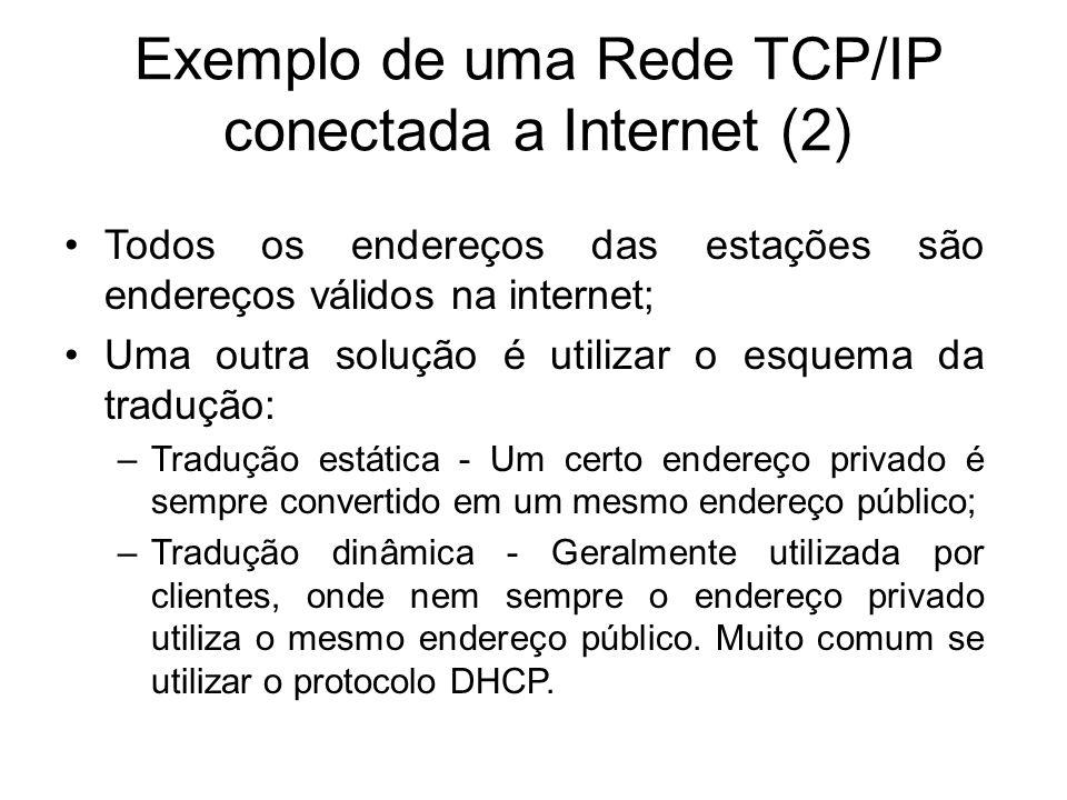 Exemplo de uma Rede TCP/IP conectada a Internet (2) Todos os endereços das estações são endereços válidos na internet; Uma outra solução é utilizar o esquema da tradução: –Tradução estática - Um certo endereço privado é sempre convertido em um mesmo endereço público; –Tradução dinâmica - Geralmente utilizada por clientes, onde nem sempre o endereço privado utiliza o mesmo endereço público.
