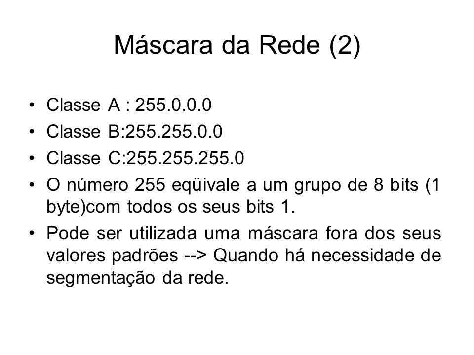 Máscara da Rede (2) Classe A : 255.0.0.0 Classe B:255.255.0.0 Classe C:255.255.255.0 O número 255 eqüivale a um grupo de 8 bits (1 byte)com todos os seus bits 1.