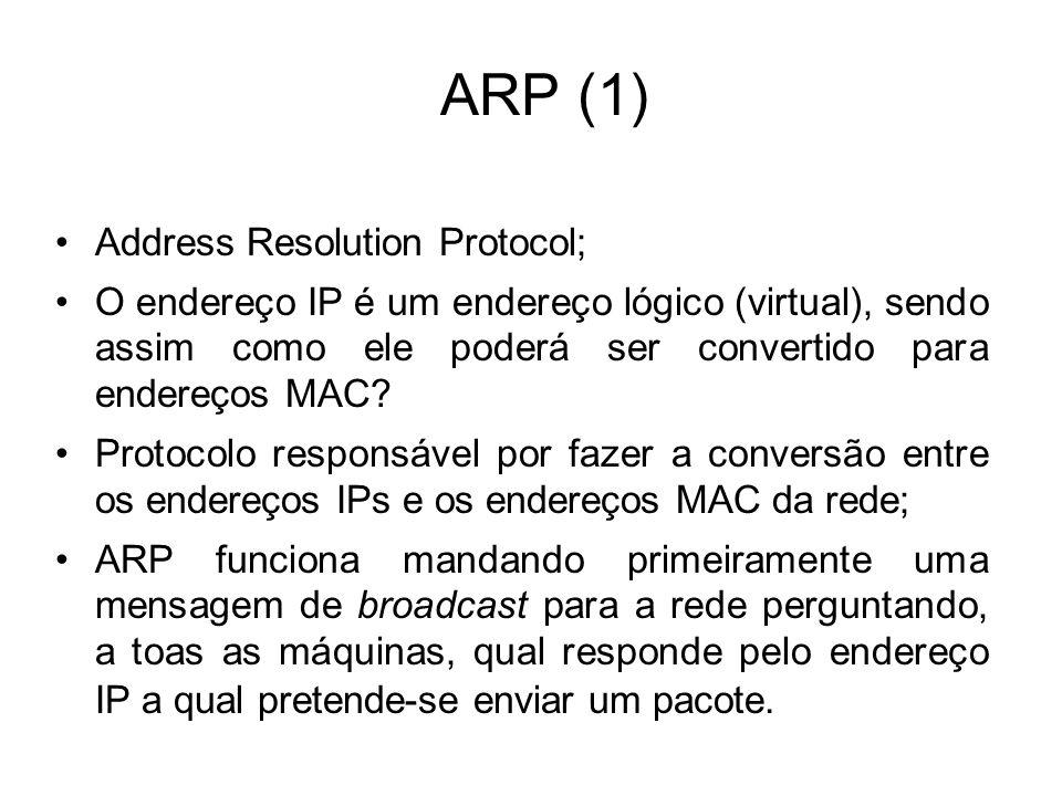 ARP (1) Address Resolution Protocol; O endereço IP é um endereço lógico (virtual), sendo assim como ele poderá ser convertido para endereços MAC? Prot