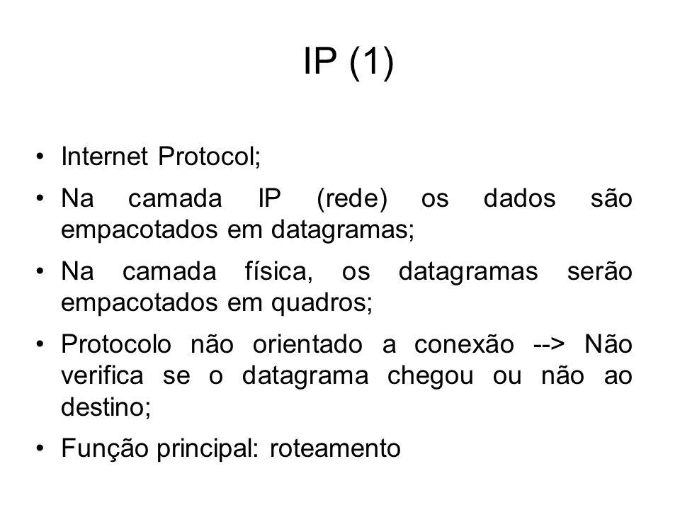 IP (1) Internet Protocol; Na camada IP (rede) os dados são empacotados em datagramas; Na camada física, os datagramas serão empacotados em quadros; Pr