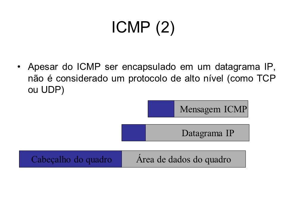 ICMP (2) Apesar do ICMP ser encapsulado em um datagrama IP, não é considerado um protocolo de alto nível (como TCP ou UDP) Cabeçalho do quadroÁrea de dados do quadro Datagrama IP Mensagem ICMP