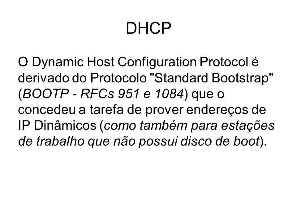 O Dynamic Host Configuration Protocol é derivado do Protocolo Standard Bootstrap (BOOTP - RFCs 951 e 1084) que o concedeu a tarefa de prover endereços de IP Dinâmicos (como também para estações de trabalho que não possui disco de boot).