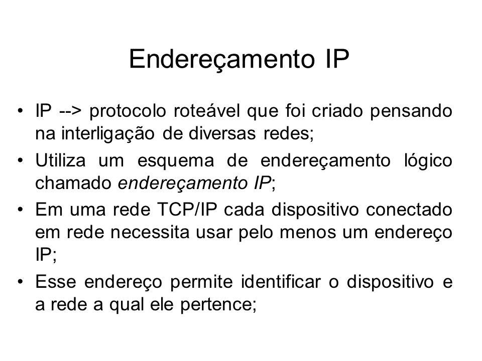 Endereçamento IP IP --> protocolo roteável que foi criado pensando na interligação de diversas redes; Utiliza um esquema de endereçamento lógico chamado endereçamento IP; Em uma rede TCP/IP cada dispositivo conectado em rede necessita usar pelo menos um endereço IP; Esse endereço permite identificar o dispositivo e a rede a qual ele pertence;