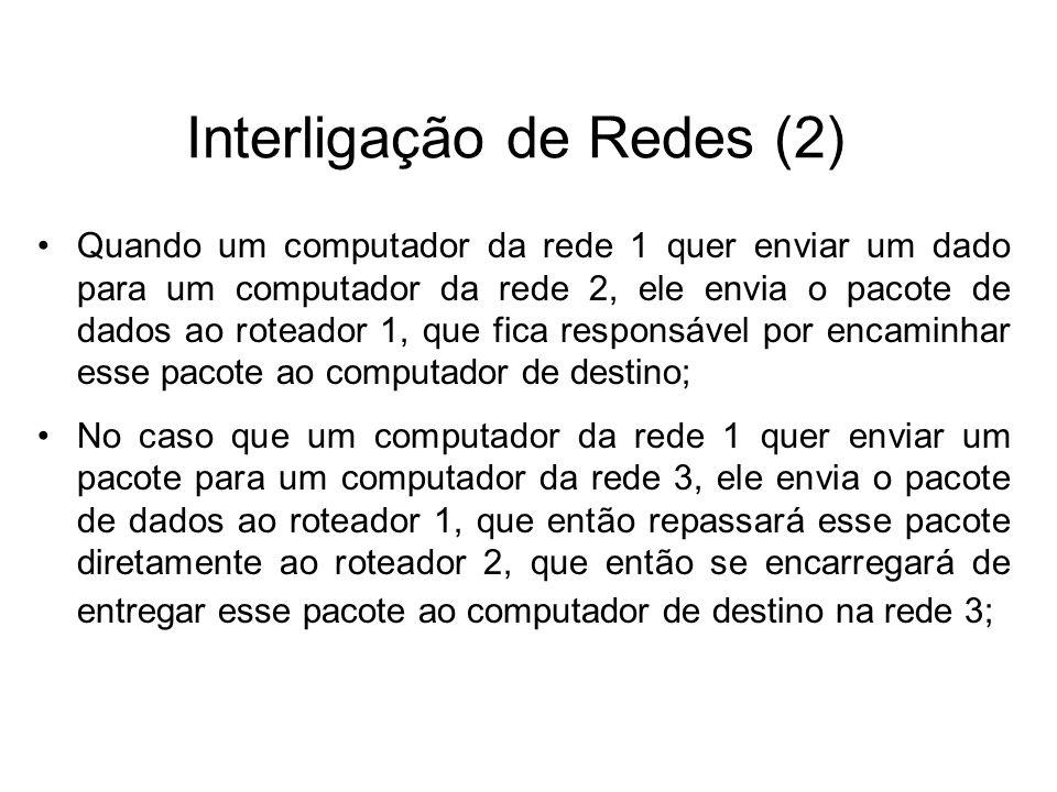 Exemplo de Rede Segmentada (3) Internet Rede 3 Rede 2 Roteador A 200.123.123.1 Roteador D 200.123.123.4 Roteador C 200.18.123.3 Roteador B 200.123.123.2 Rede 1 Rede Local