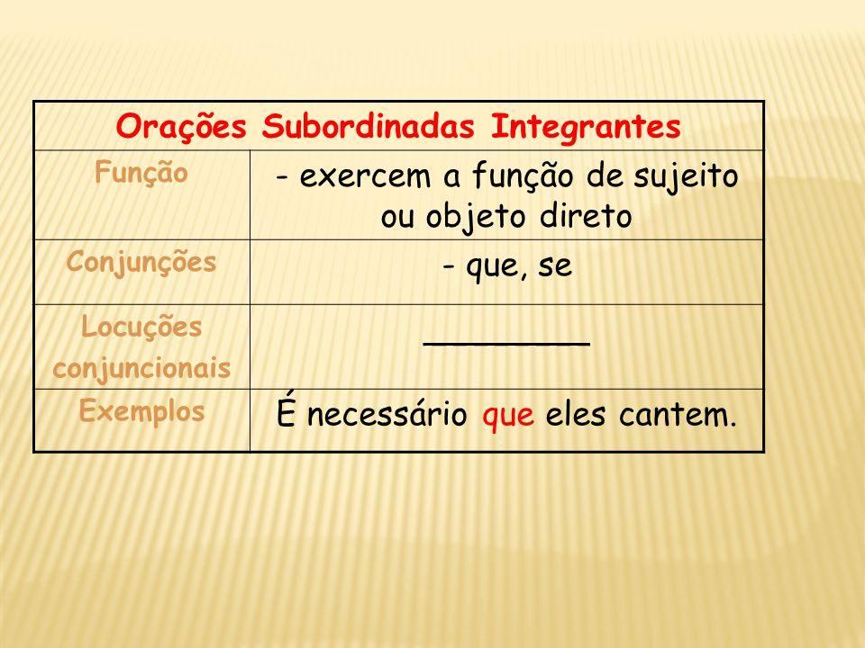 Orações Subordinadas Integrantes Função - exercem a função de sujeito ou objeto direto Conjunções - que, se Locuções conjuncionais ________ Exemplos É