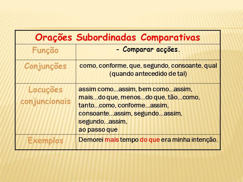 Orações Subordinadas Comparativas Função - Comparar acções. Conjunções como, conforme, que, segundo, consoante, qual (quando antecedido de tal) Locuçõ
