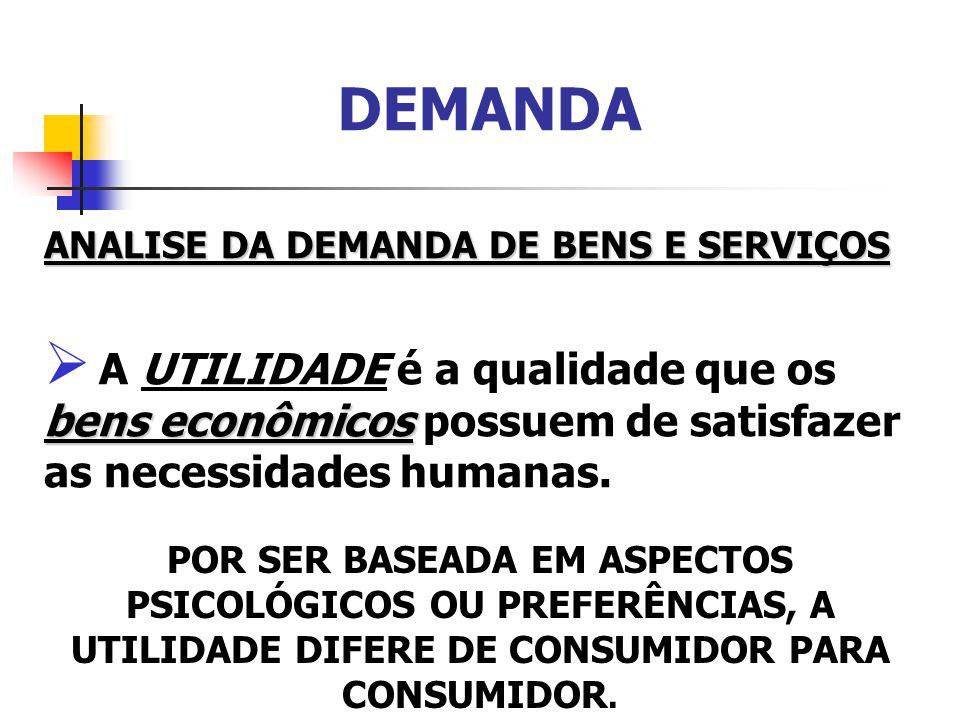 DEMANDA A TEORIA DO VALOR-UTILIDADE Pressupõe que o valor de um BEM se forma por sua DEMANDA, isto é, pela SATISFAÇÃO que o BEM representa para o consumidor.