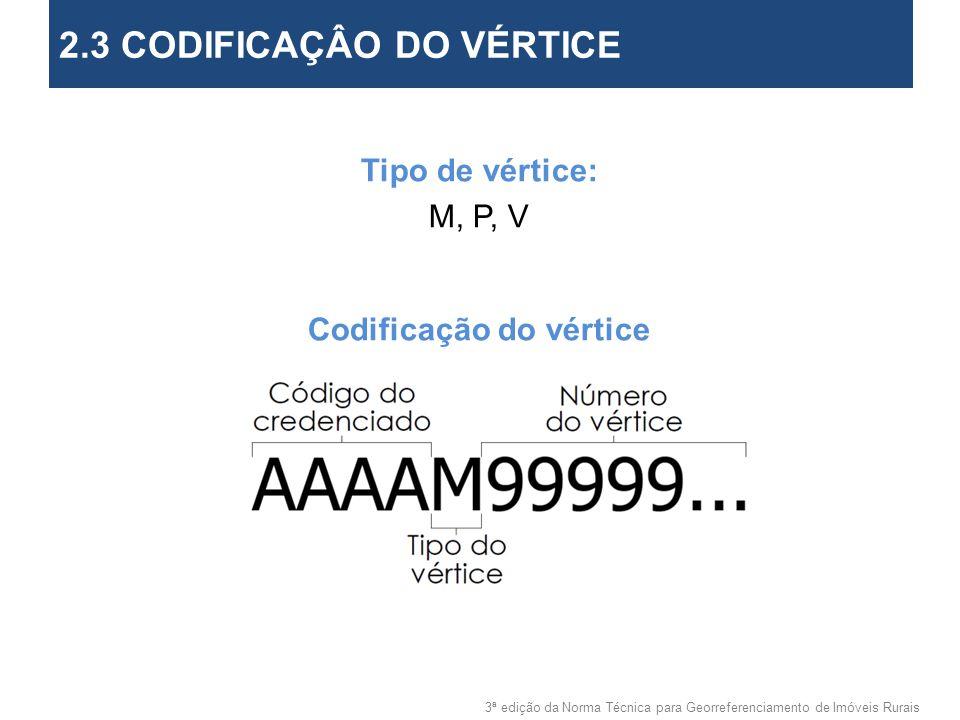 3ª edição da Norma Técnica para Georreferenciamento de Imóveis Rurais 2. Objetivos Tipo de vértice: M, P, V Codificação do vértice 2.3 CODIFICAÇÂO DO