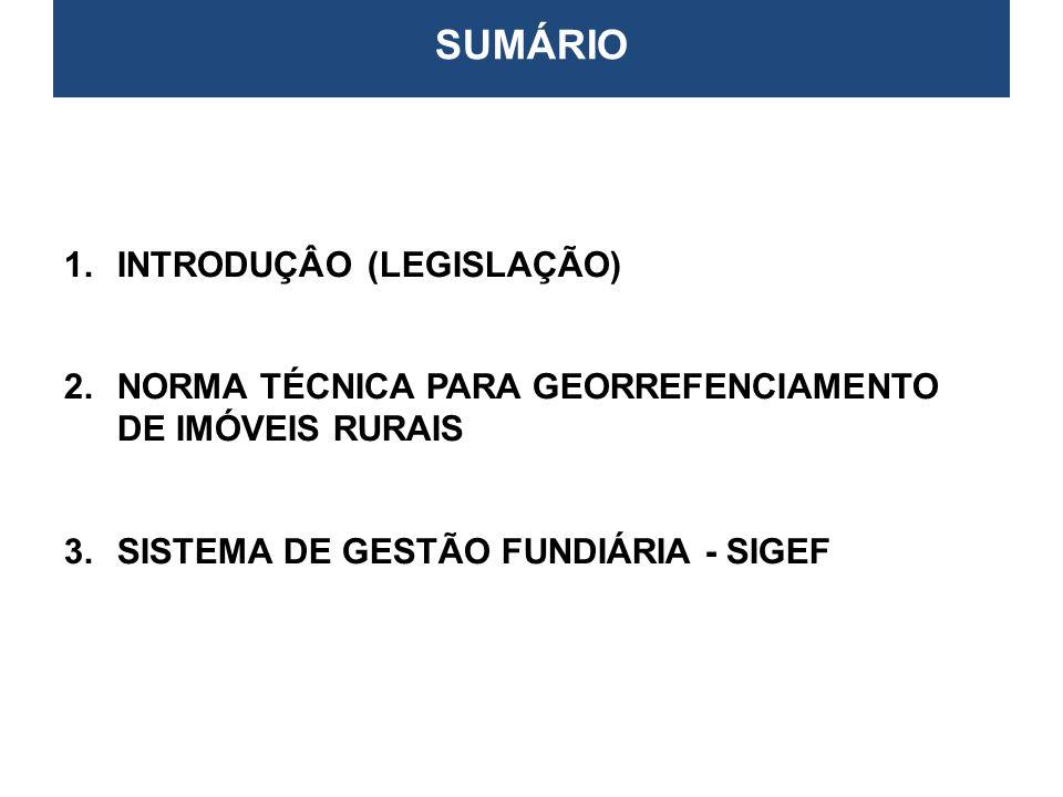 1. INTRODUÇÂO (Legislação) CERTIFICAÇÃO E GEORREFERENCIAMENTO DE IMÓVEIS RURAIS