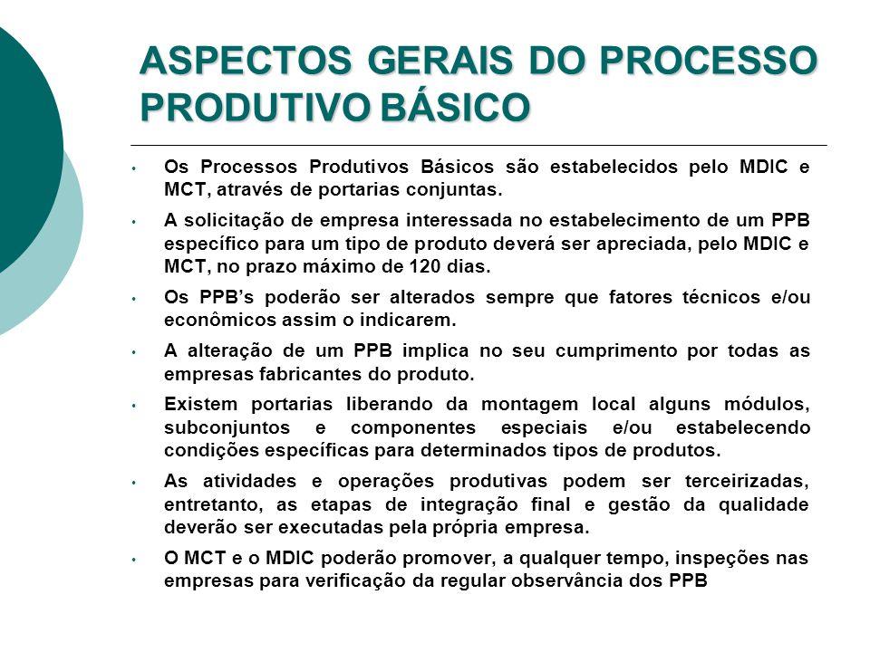 ASPECTOS GERAIS DO PROCESSO PRODUTIVO BÁSICO Os Processos Produtivos Básicos são estabelecidos pelo MDIC e MCT, através de portarias conjuntas. A soli
