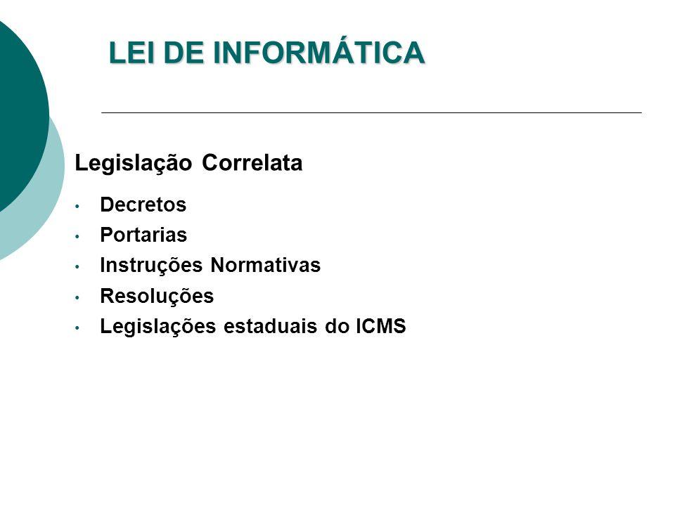LEI DE INFORMÁTICA Legislação Correlata Decretos Portarias Instruções Normativas Resoluções Legislações estaduais do ICMS