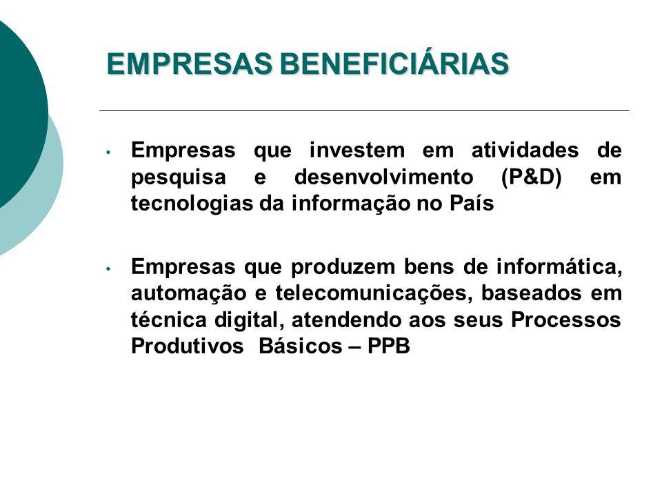 BENEFÍCIOS DA LEI DE INFORMÁTICA Redução do IPI na comercialização dos produtos incentivados Preferência na aquisição dos bens incentivados por órgãos e entidades da Administração Pública Federal, direta ou indireta Suspensão do IPI na importação e compra local de insumos Benefícios no ICMS no Estado de São Paulo Redução do ICMS para a 12% nas operações dentro do Estado Diferimento do ICMS na aquisição de insumos dentro do Estado, destinados à fabricação de produtos beneficiados Suspensão do ICMS na importação de insumos destinados à fabricação dos produtos beneficiados Regime especial de tributação do ICMS para alguns produtos de informática (Crédito Outorgado)