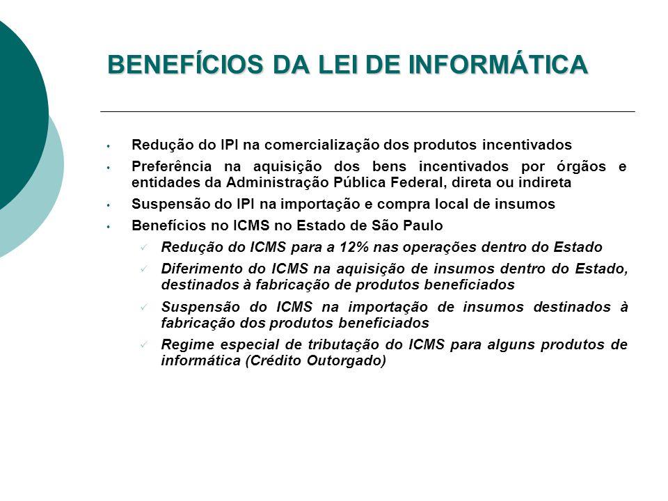 BENEFÍCIOS DA LEI DE INFORMÁTICA Redução do IPI na comercialização dos produtos incentivados Preferência na aquisição dos bens incentivados por órgãos