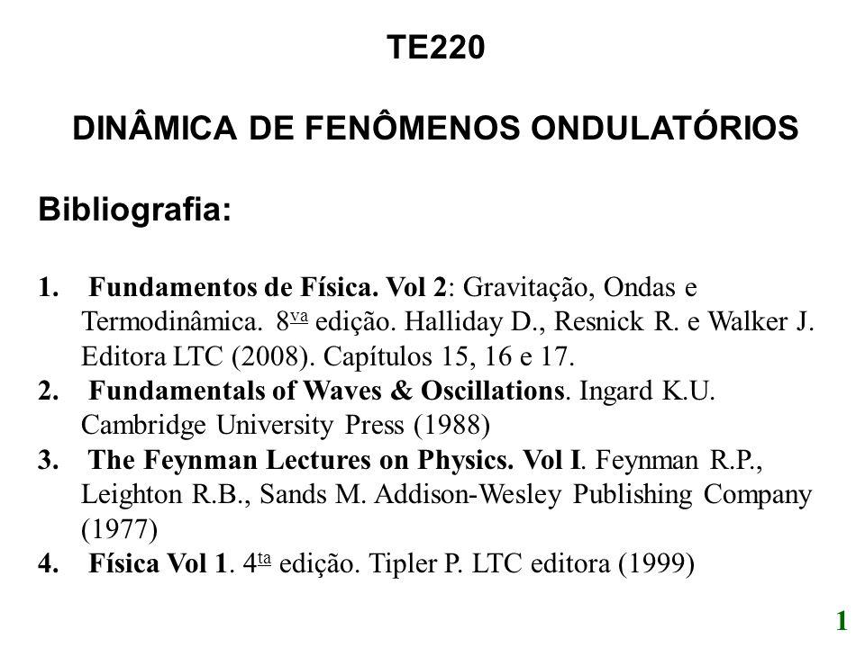 1 TE220 DINÂMICA DE FENÔMENOS ONDULATÓRIOS Bibliografia: 1. Fundamentos de Física. Vol 2: Gravitação, Ondas e Termodinâmica. 8 va edição. Halliday D.,