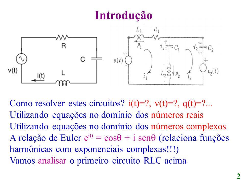 Introdução Como resolver estes circuitos? i(t)=?, v(t)=?, q(t)=?... Utilizando equações no domínio dos números reais Utilizando equações no domínio do