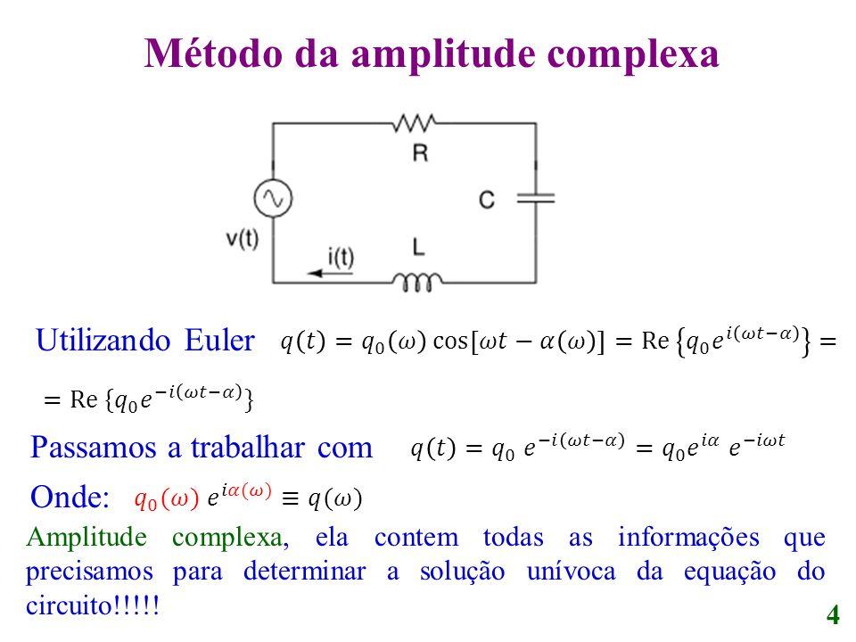 Utilizando Euler Passamos a trabalhar com Onde: 4 Amplitude complexa, ela contem todas as informações que precisamos para determinar a solução unívoca