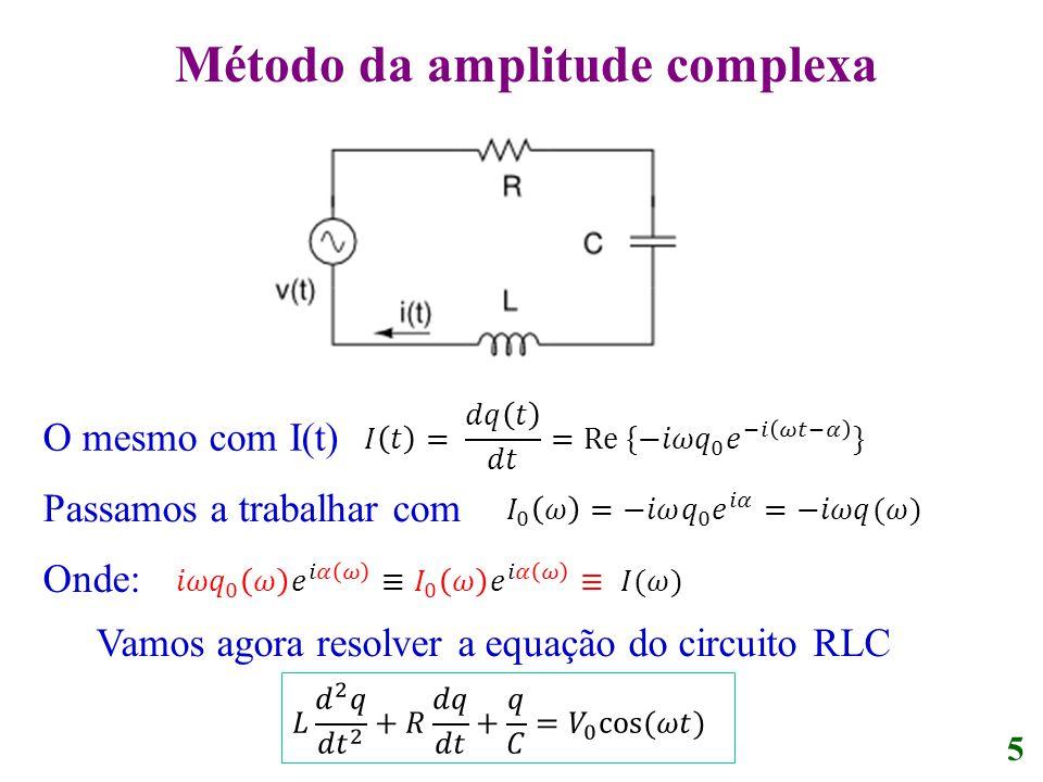 O mesmo com I(t) Passamos a trabalhar com Onde: 5 Vamos agora resolver a equação do circuito RLC Método da amplitude complexa