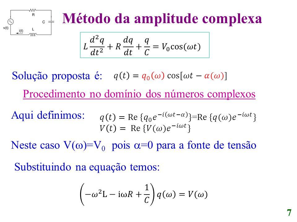 Solução proposta é: 7 Procedimento no domínio dos números complexos Aqui definimos: Neste caso V( )=V 0 pois =0 para a fonte de tensão Substituindo na