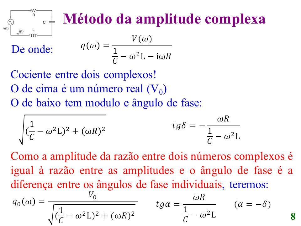 8 De onde: Cociente entre dois complexos! O de cima é um número real (V 0 ) O de baixo tem modulo e ângulo de fase: Como a amplitude da razão entre do