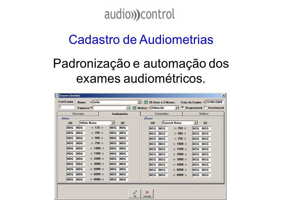 Cadastro de Audiometrias Padronização e automação dos exames audiométricos.