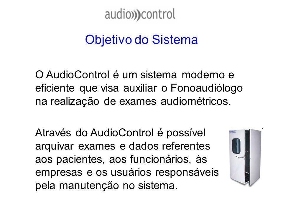 Objetivo do Sistema O AudioControl é um sistema moderno e eficiente que visa auxiliar o Fonoaudiólogo na realização de exames audiométricos. Através d