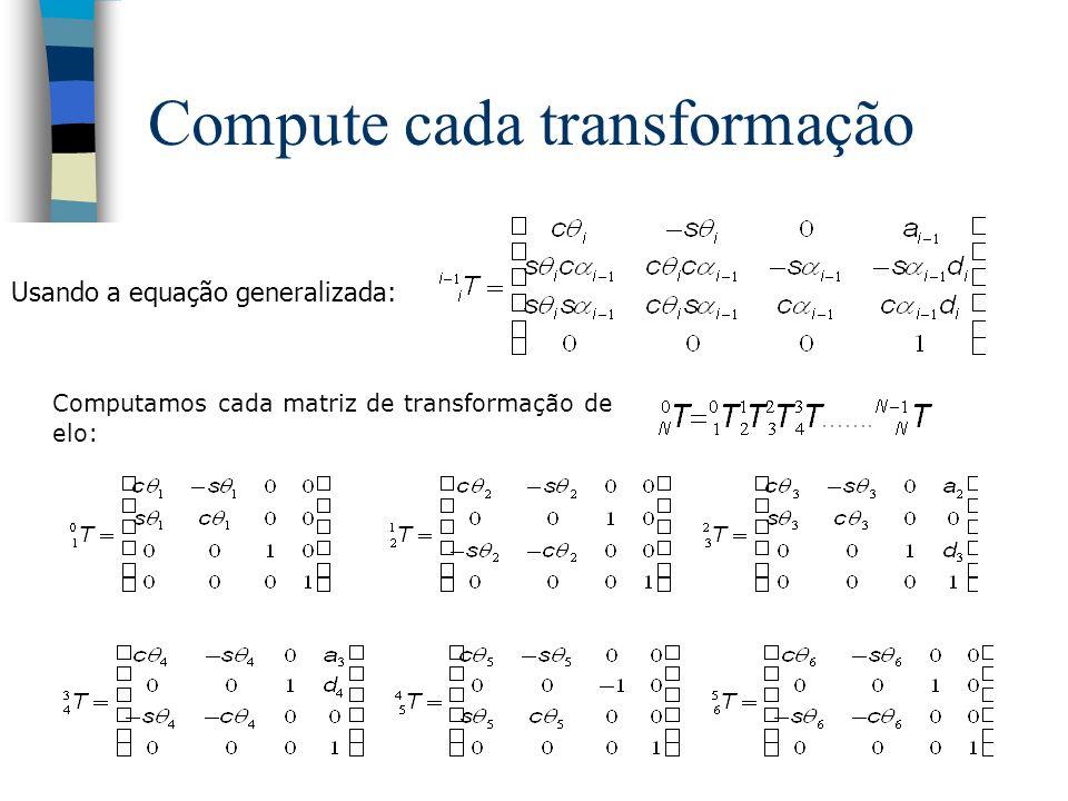 Transformações para o Puma 0 T 1 = Trans(z, a 1 ) Rot(z, 1 ) 1 T 2 = Trans(x, a 2 ) Rot(x, 2 ) 2 T 3 = Trans(z, a 3 ) Rot(x, 3 ) 3 T 4 = Trans(z, a 4