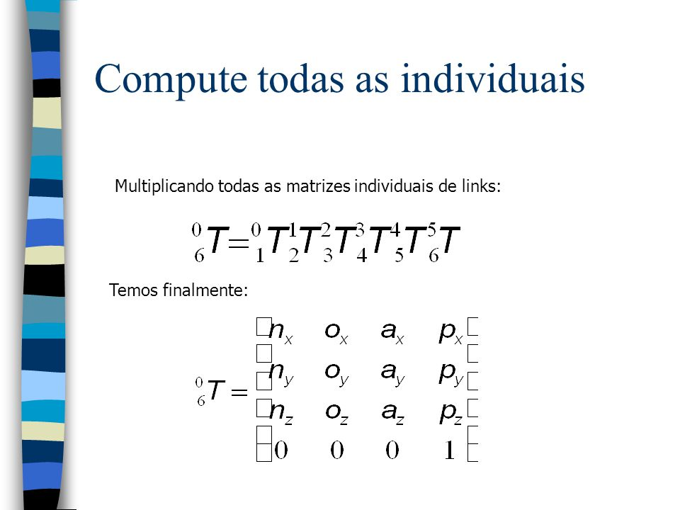 Usando a equação generalizada: Computamos cada matriz de transformação de elo: Compute cada transformação