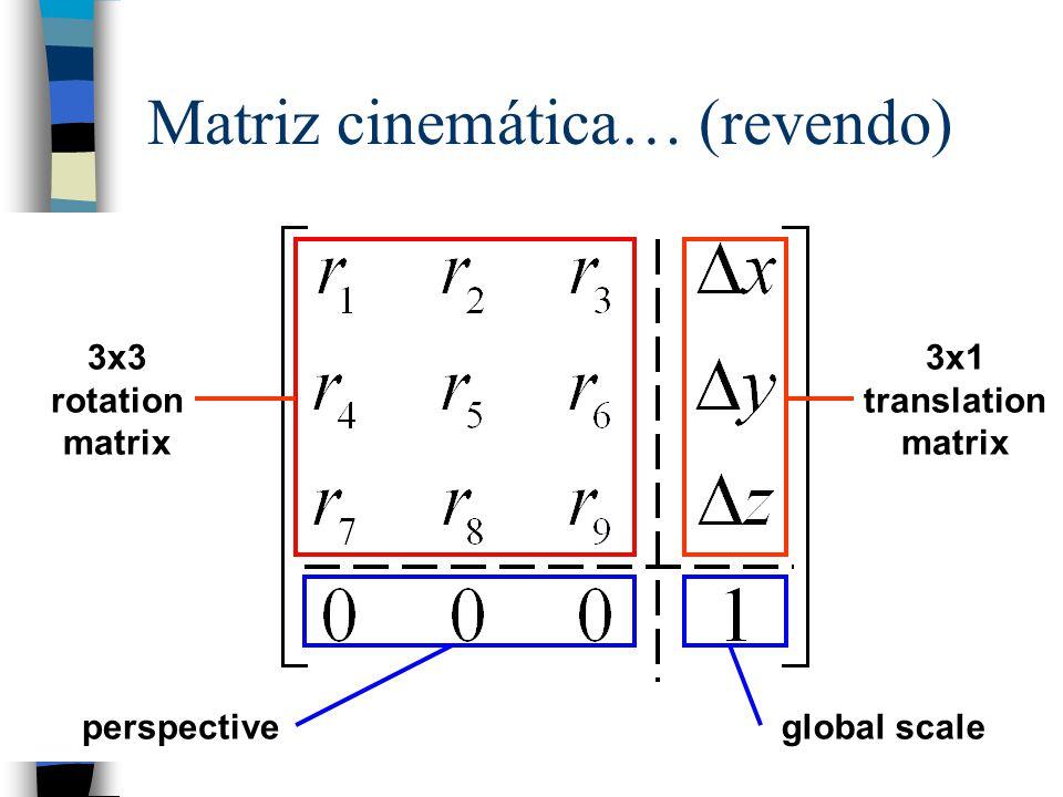 n Permite, a partir dos valores das coordenadas de juntas, calcular a posição do manipulador. n Usado para o controle do manipulador. n O problema: –D