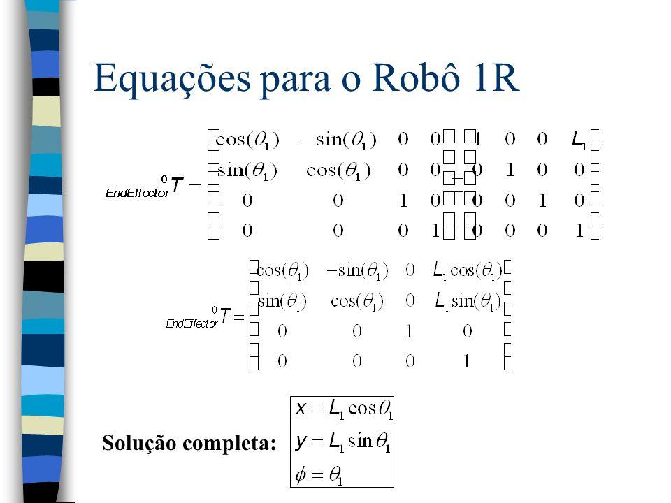 Exemplo algébrico: Robô 1R n O Robô 1R possui apenas uma junta rotacional… n É o pêndulo simples... L1L1 (x,y, ).