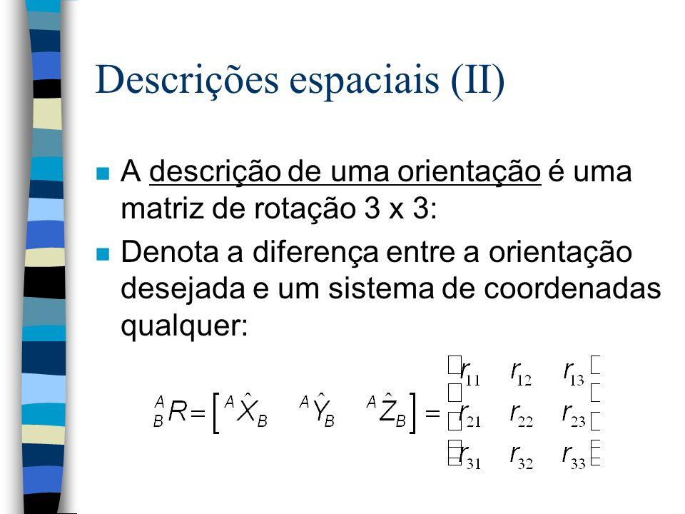 Descrições espaciais n Uma descrição é uma matriz utilizada para descrever os objetos com os quais um manipulador deve tratar. n A descrição de uma po