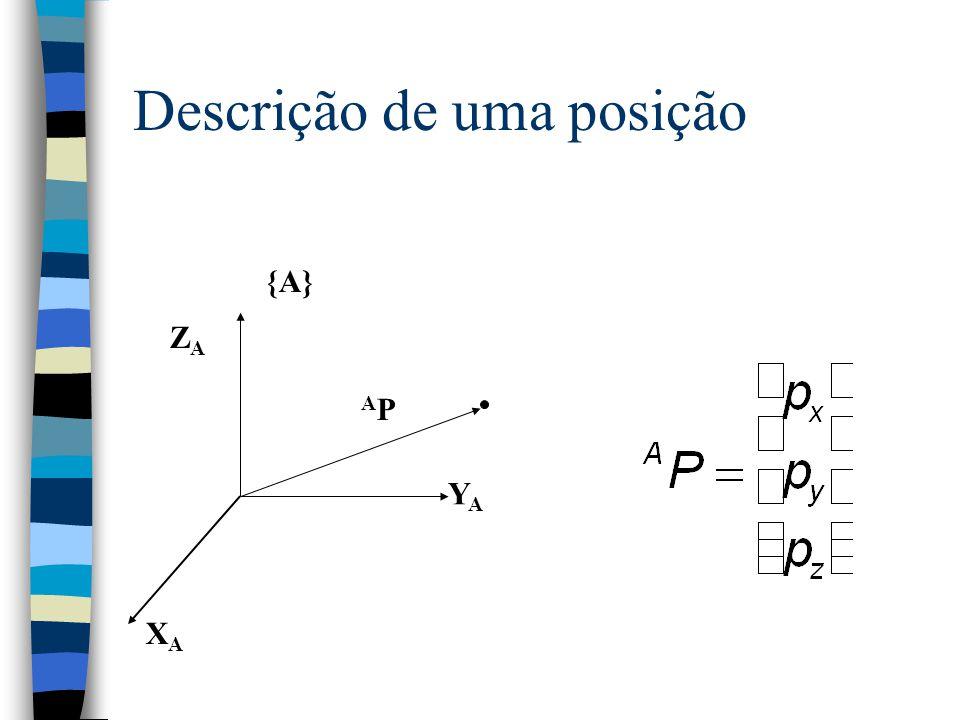 Descrições espaciais (II) n A descrição de uma orientação é uma matriz de rotação 3 x 3: n Denota a diferença entre a orientação desejada e um sistema