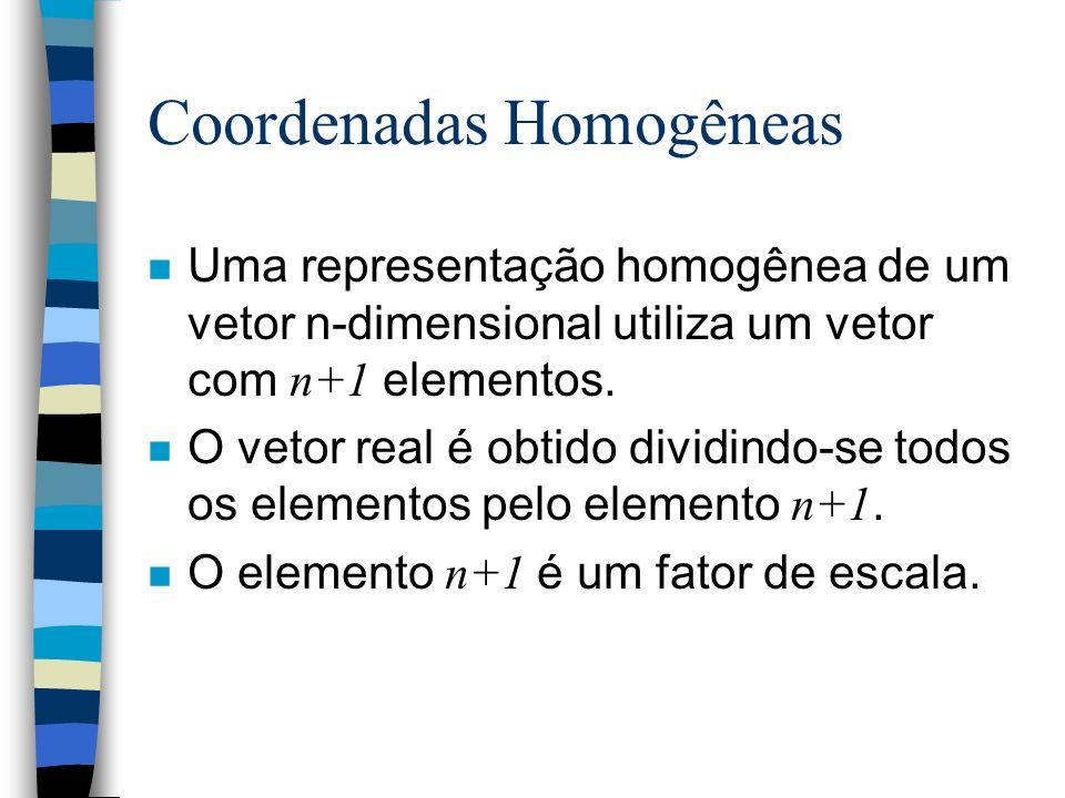 Coordenadas Homogêneas n A matemática para implementar a composição de translação e rotação se torna complicada quando se deseja realizar diversas ope