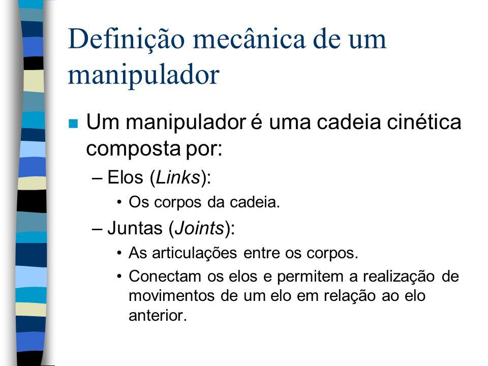 Definição mecânica de um manipulador Um manipulador pode ser representado por n corpos rígidos móveis e um corpo fixo, ligados por n juntas (ou articu