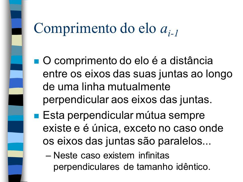 Parâmetros dos elos n Um elo é especificado por dois parâmetros que definem a posição relativa e a orientação dos eixos da junta incidente no elo: –O