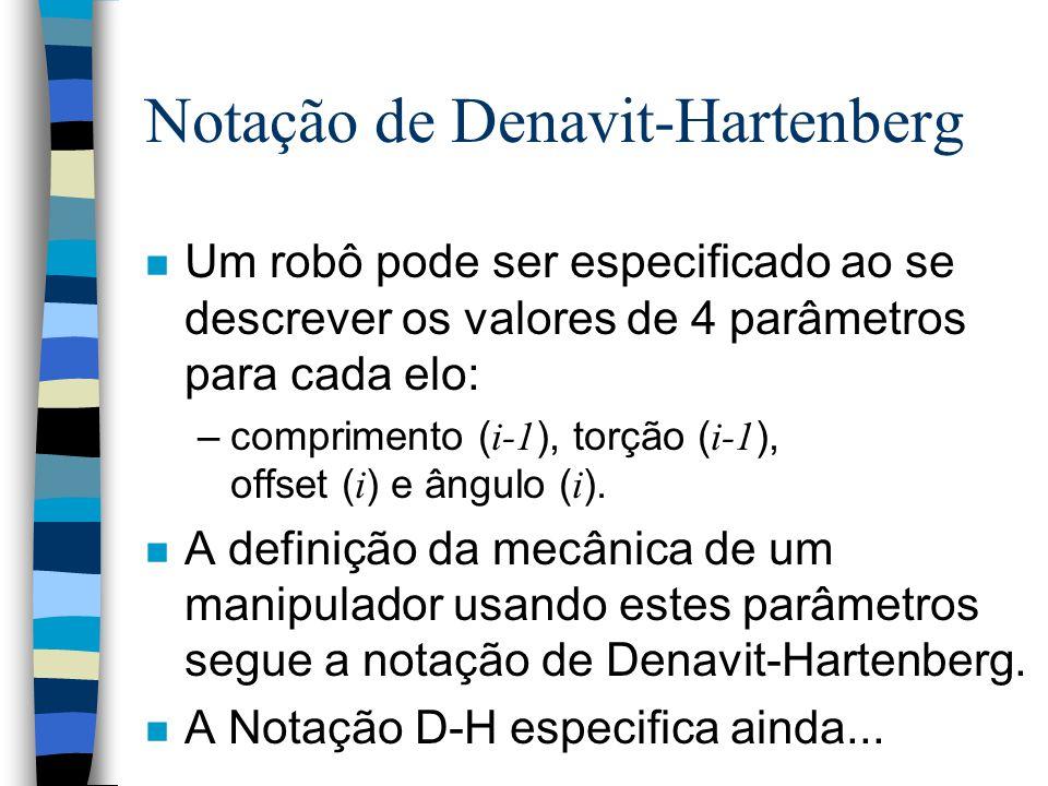 Notação de Denavit-Hartenberg n Metodologia que está se tornando padrão para calcular os parâmetros necessários do modelo cinemático. n O modelo de D-