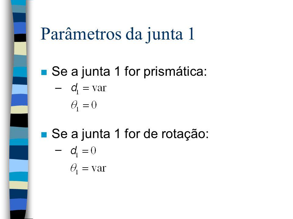 O comprimento e a torção de um elo i dependem das juntas adjacentes. n Com isso, os términos da cadeia ficam indefinidos. n Por convenção, define-se: