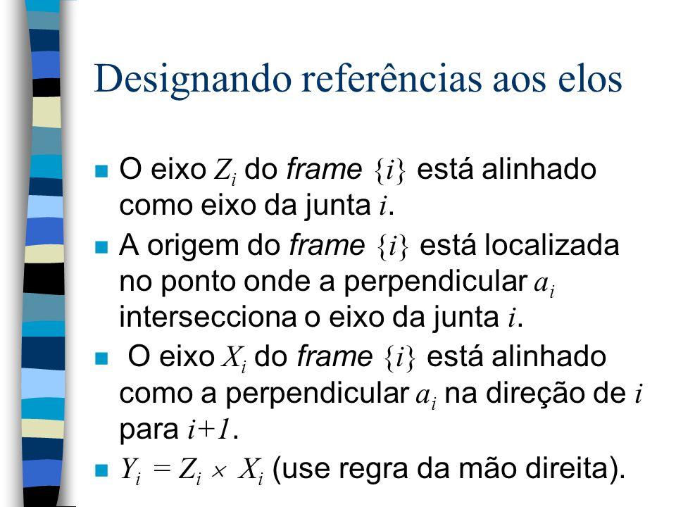 Sistemas de referências n Cada corpo elementar (elo) da cadeia cinemática deve ser fixado em um sistema de referência (frame). n Existe uma convenção