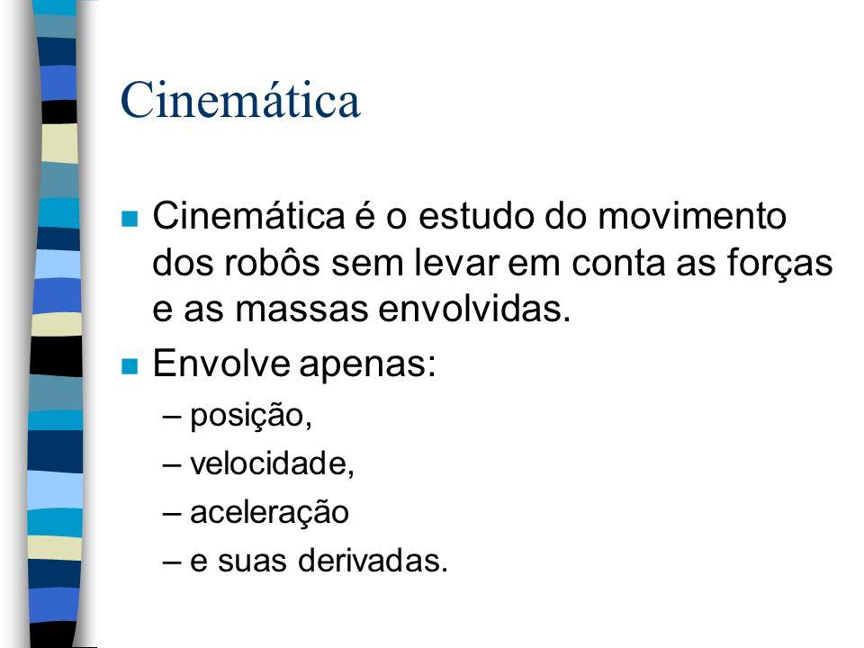 n Para realizar o controle do manipulador é necessário o estudo do seu funcionamento mecânico. n Mecânica = –dinâmica + –estática + –cinemática!