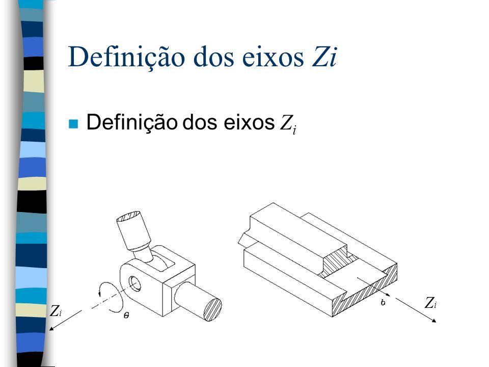 Designando referências aos elos O eixo Z i do frame {i} está alinhado como eixo da junta i. A origem do frame {i} está localizada no ponto onde a perp