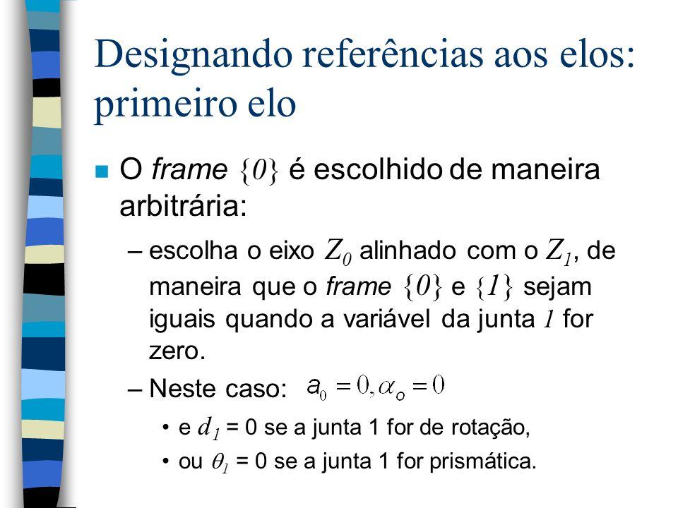 Designando referências aos elos: casos especiais Se a i = 0 (ou seja, os eixos se interceptam): –X i = Z i x Z i+1, isto é, X i é perpendicular aos ei