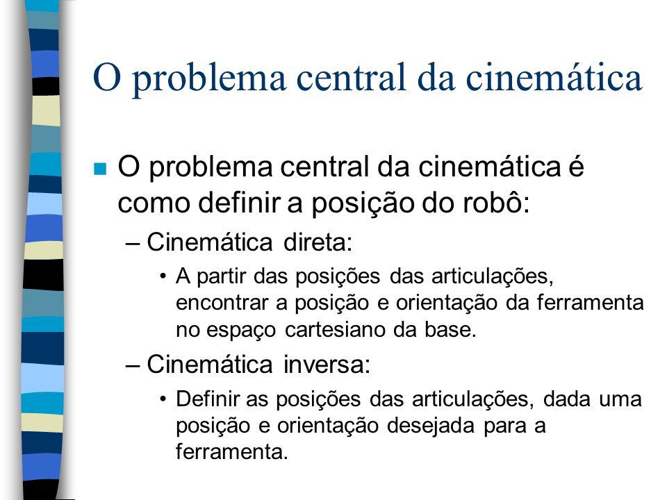 Cinemática n Cinemática é o estudo do movimento dos robôs sem levar em conta as forças e as massas envolvidas. n Envolve apenas: –posição, –velocidade