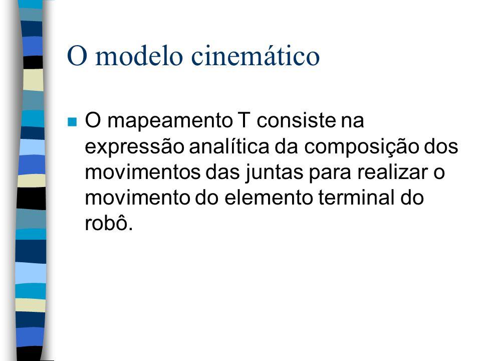O modelo cinemático n Expressa a posição e a orientação do elemento terminal do robô em relação a um sistemas de coordenadas fixo a base, em função da