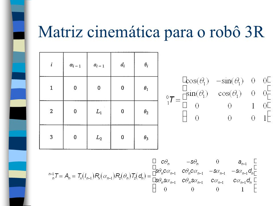 Exemplo 3: Matriz Cinemática para o robô 3R