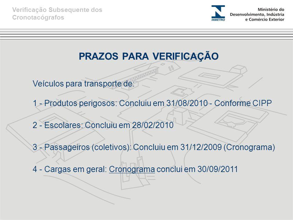 PRAZOS PARA VERIFICAÇÃO Verificação Subsequente dos Cronotacógrafos Veículos para transporte de: 1 - Produtos perigosos: Concluiu em 31/08/2010 - Conforme CIPP 2 - Escolares: Concluiu em 28/02/2010 3 - Passageiros (coletivos): Concluiu em 31/12/2009 (Cronograma) 4 - Cargas em geral: Cronograma conclui em 30/09/2011