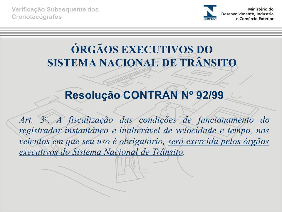 ÓRGÃOS EXECUTIVOS DO SISTEMA NACIONAL DE TRÂNSITO Resolução CONTRAN Nº 92/99 Art.