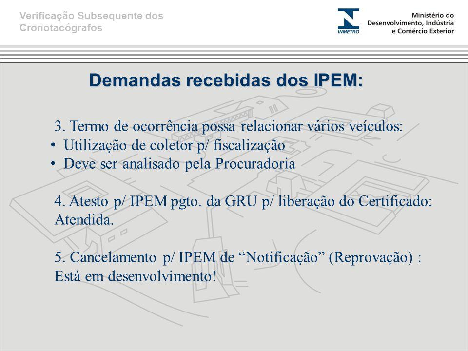 Demandas recebidas dos IPEM: 3. Termo de ocorrência possa relacionar vários veículos: Utilização de coletor p/ fiscalização Deve ser analisado pela Pr
