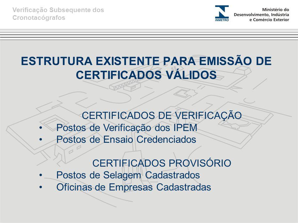 ESTRUTURA EXISTENTE PARA EMISSÃO DE CERTIFICADOS VÁLIDOS CERTIFICADOS DE VERIFICAÇÃO Postos de Verificação dos IPEM Postos de Ensaio Credenciados CERTIFICADOS PROVISÓRIO Postos de Selagem Cadastrados Oficinas de Empresas Cadastradas Verificação Subsequente dos Cronotacógrafos