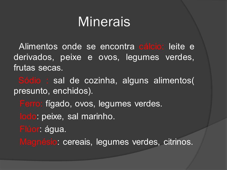 Minerais Alimentos onde se encontra cálcio: leite e derivados, peixe e ovos, legumes verdes, frutas secas. Sódio : sal de cozinha, alguns alimentos( p