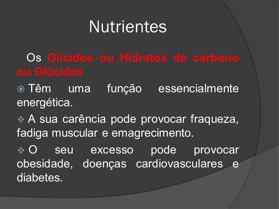Nutrientes Os Glícidos ou Hidratos de carbono ou Glúcidos Têm uma função essencialmente energética. A sua carência pode provocar fraqueza, fadiga musc